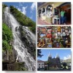 Virgin Wasserfall, Kunsthandwerk, Süßigkeiten, Kirche in Banos